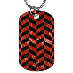 Chevron1 Black Marble & Red Marble Dog Tag (two Sides) by trendistuff