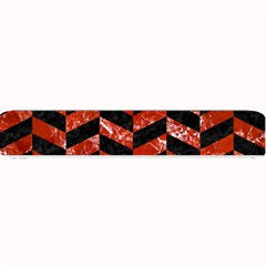 Chevron1 Black Marble & Red Marble Small Bar Mat by trendistuff
