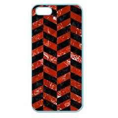 Chevron1 Black Marble & Red Marble Apple Seamless Iphone 5 Case (color) by trendistuff