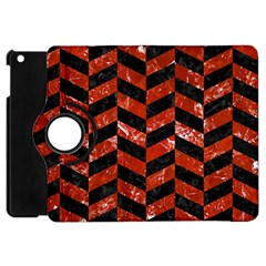Chevron1 Black Marble & Red Marble Apple Ipad Mini Flip 360 Case by trendistuff