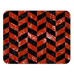 Chevron1 Black Marble & Red Marble Double Sided Flano Blanket (large) by trendistuff