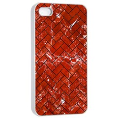 Brick2 Black Marble & Red Marble (r) Apple Iphone 4/4s Seamless Case (white) by trendistuff