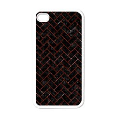 Brick2 Black Marble & Red Marble Apple Iphone 4 Case (white) by trendistuff