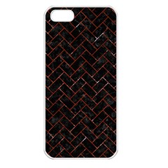 Brick2 Black Marble & Red Marble Apple Iphone 5 Seamless Case (white) by trendistuff
