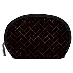 Brick2 Black Marble & Red Marble Accessory Pouch (large) by trendistuff