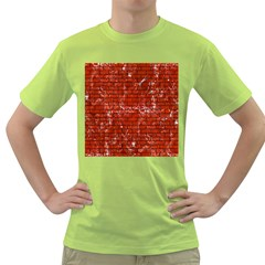 Brick1 Black Marble & Red Marble (r) Green T Shirt by trendistuff