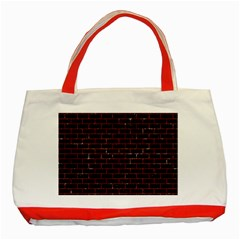 Brick1 Black Marble & Red Marble Classic Tote Bag (red) by trendistuff