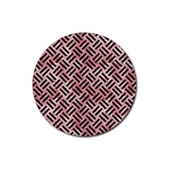 Woven2 Black Marble & Red & White Marble (r) Rubber Coaster (round) by trendistuff