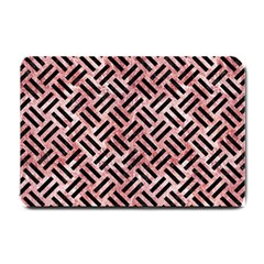 Woven2 Black Marble & Red & White Marble (r) Small Doormat by trendistuff