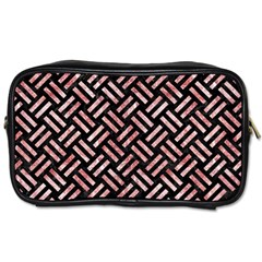 Woven2 Black Marble & Red & White Marble Toiletries Bag (one Side) by trendistuff