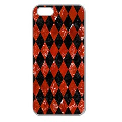 Diamond1 Black Marble & Red Marble Apple Seamless Iphone 5 Case (clear) by trendistuff