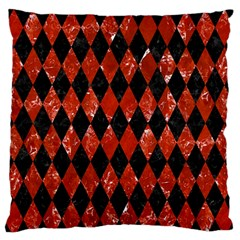 Diamond1 Black Marble & Red Marble Large Flano Cushion Case (one Side) by trendistuff
