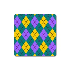 Texture Background Argyle Teal Square Magnet by Jojostore