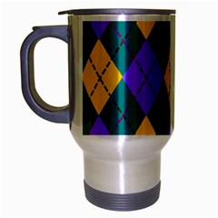 Texture Background Argyle Teal Travel Mug (silver Gray) by Jojostore