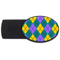Texture Background Argyle Teal Usb Flash Drive Oval (4 Gb)