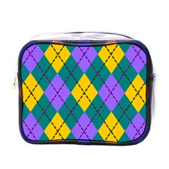 Texture Background Argyle Teal Mini Toiletries Bags