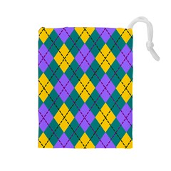 Texture Background Argyle Teal Drawstring Pouches (large)