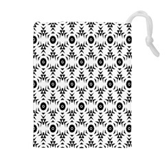 Black White Flower Drawstring Pouches (extra Large)