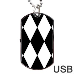 Chevron Black Copy Dog Tag Usb Flash (one Side) by Jojostore