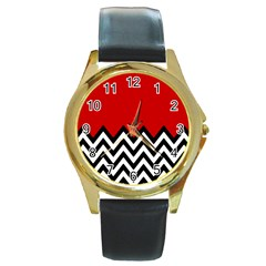 Chevron Red Round Gold Metal Watch by Jojostore