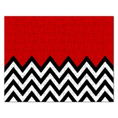 Chevron Red Rectangular Jigsaw Puzzl by Jojostore