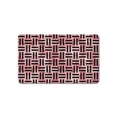 Woven1 Black Marble & Red & White Marble (r) Magnet (name Card) by trendistuff