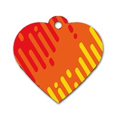 Color Minimalism Red Yellow Dog Tag Heart (two Sides) by Jojostore