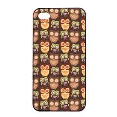 Eye Owl Line Brown Copy Apple Iphone 4/4s Seamless Case (black) by Jojostore