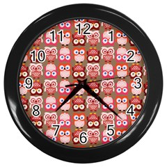 Eye Owl Colorfull Pink Orange Brown Copy Wall Clocks (black) by Jojostore