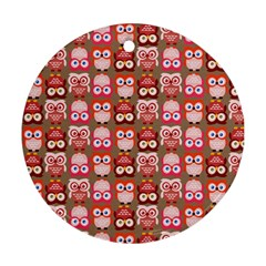 Eye Owl Colorfull Pink Orange Brown Copy Round Ornament (two Sides)  by Jojostore