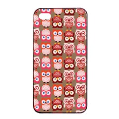 Eye Owl Colorfull Pink Orange Brown Copy Apple Iphone 4/4s Seamless Case (black) by Jojostore