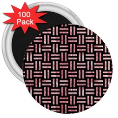 Woven1 Black Marble & Red & White Marble 3  Magnet (100 Pack)