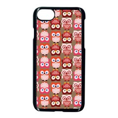 Eye Owl Colorfull Pink Orange Brown Copy Apple Iphone 7 Seamless Case (black)