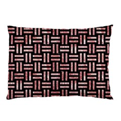 Woven1 Black Marble & Red & White Marble Pillow Case by trendistuff