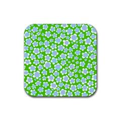 Flower Green Copy Rubber Square Coaster (4 Pack)  by Jojostore