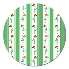 Flower Background Green Magnet 5  (round) by Jojostore