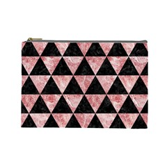 Triangle3 Black Marble & Red & White Marble Cosmetic Bag (large) by trendistuff