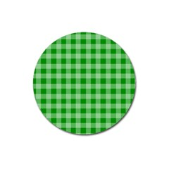 Gingham Background Fabric Texture Magnet 3  (round)