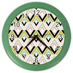 Chevron Pink Green Copy Color Wall Clocks by Jojostore