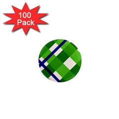 Green Plaid 1  Mini Magnets (100 Pack)  by Jojostore