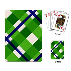 Green Plaid Playing Card