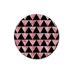 Triangle2 Black Marble & Red & White Marble Rubber Coaster (round) by trendistuff