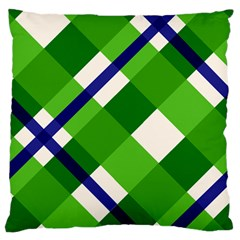 Green Plaid Large Flano Cushion Case (one Side)