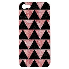 Triangle2 Black Marble & Red & White Marble Apple Iphone 5 Hardshell Case by trendistuff