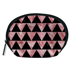 Triangle2 Black Marble & Red & White Marble Accessory Pouch (medium) by trendistuff