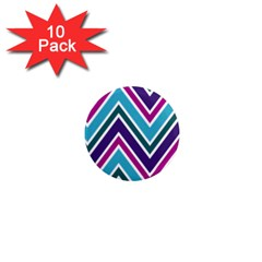 Fetching Chevron White Blue Purple Green Colors Combinations Cream Pink Pretty Peach Gray Glitter Re 1  Mini Magnet (10 Pack)  by Jojostore