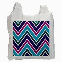 Fetching Chevron White Blue Purple Green Colors Combinations Cream Pink Pretty Peach Gray Glitter Re Recycle Bag (one Side) by Jojostore