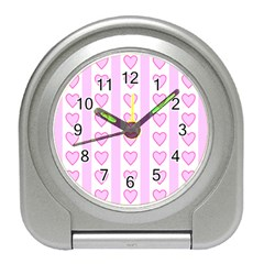 Heart Pink Valentine Day Travel Alarm Clocks by Jojostore