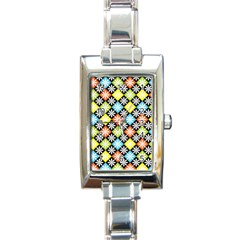 Diamond Argyle Pattern Flower Rectangle Italian Charm Watch