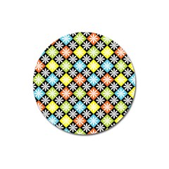 Diamond Argyle Pattern Flower Magnet 3  (round) by Jojostore